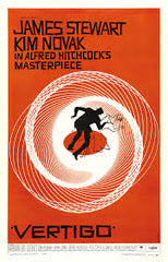 "Saul Bass poster for Hitchcock's film ""Vertigo"""