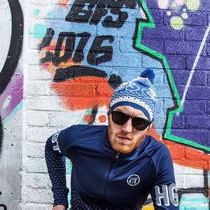 Hackney GT Alpine 100% merino wool bobble hat - blue & cream