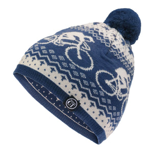 Hackney GT Merino wool  blue Alpine bobble hat
