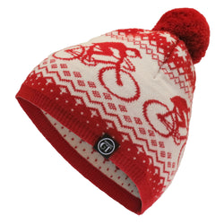 Hackney GT Alpine 100% merino wool bobble hat - red & cream