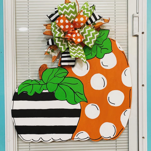 Double Pumpkin Wooden Door Hanger