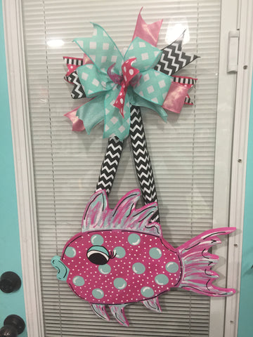 Beach Fish Wooden Door Hanger