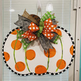 Polka Pumpkin Wooden Door Hanger