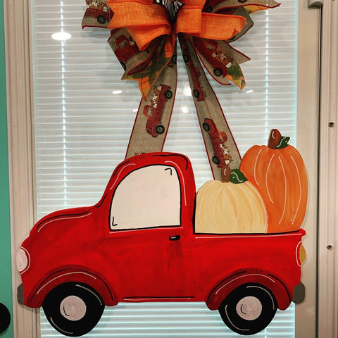 Fall Red Truck Wooden Door Hanger