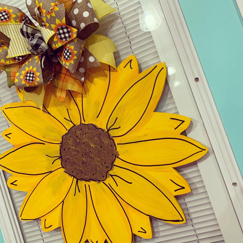 Sunflower Wooden Door Hanger