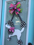 Poodle Dog Wooden Door Hanger