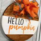Hello Pumpkin Wooden Door Hanger
