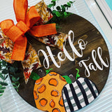 Hello Fall Wooden Door Hanger