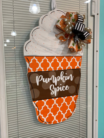 Pumpkin Spice Wooden Door Hanger
