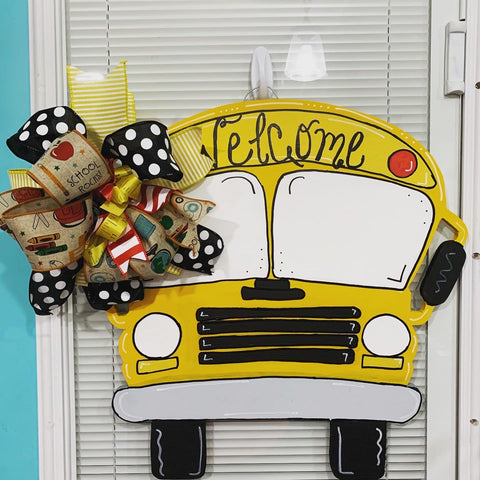 The School Bus Wooden Door Hanger