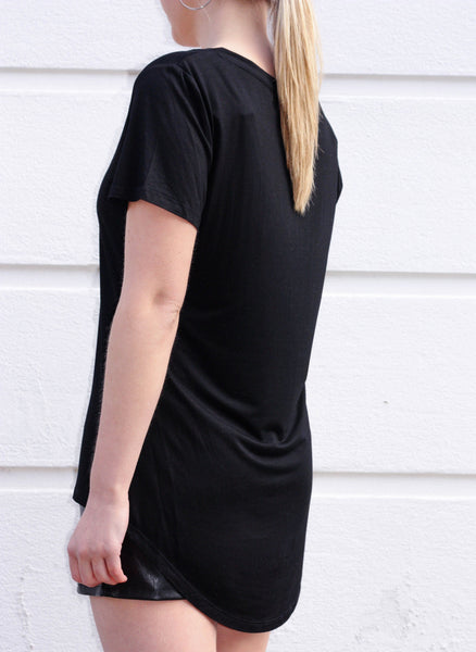EDIE deep v-neck bamboo tee - Uncle May Women Basics Clothing Natural Fabrics Melbourne