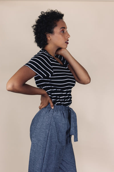CALI crew neck black/white striped top - Uncle May Women Natural Fabrics Basics Clothing Melbourne