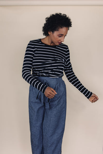LILLY long sleeve black/white striped top - Uncle May Women Natural Fabrics Basics Clothing Melbourne