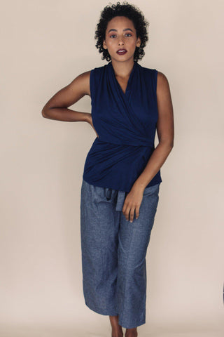 DAKOTA navy blue v-neck bamboo top - Uncle May Women Natural Fabrics Basics Clothing Melbourne