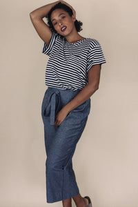 ELLA striped crew neck tee - Uncle May Women Natural Fabrics Basics Clothing Melbourne