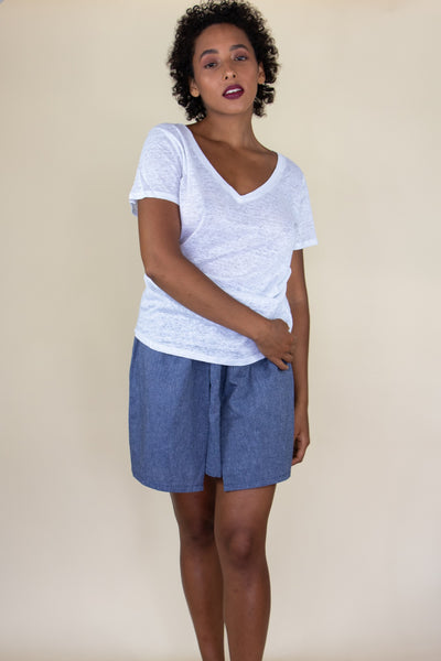 IVY linen v-neck tee - Uncle May Women Natural Fabrics Basics Clothing Melbourne