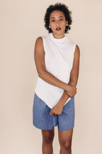 HARPER white high neck tank top - Uncle May Women Natural Fabrics Basics Clothing Melbourne