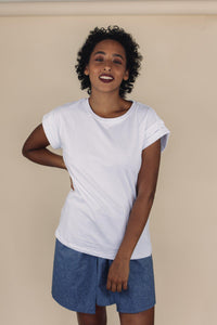BEAU white cotton tee - Uncle May Women Natural Fabrics Basics Clothing Melbourne