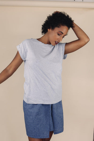 BEAU grey cotton tee - Uncle May Women Natural Fabrics Basics Clothing Melbourne