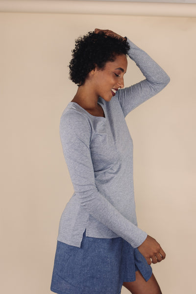MALI grey long sleeve scoop neck top - Uncle May Women Natural Fabrics Basics Clothing Melbourne