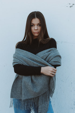 LOLA grey wool scarf - Uncle May Women Basics Clothing Natural Fabrics Melbourne