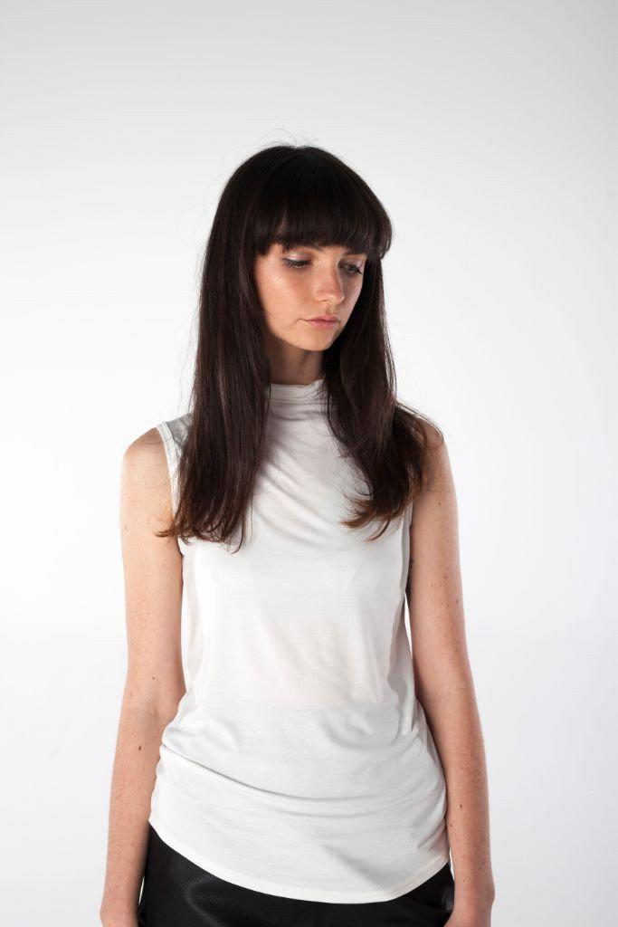 HARPER white high neck tank top - Uncle May Women Basics Clothing Natural Fabrics Melbourne