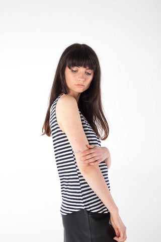SILVIE stripe v-neck singlet - Uncle May Women Natural Fabrics Basics Clothing Melbourne