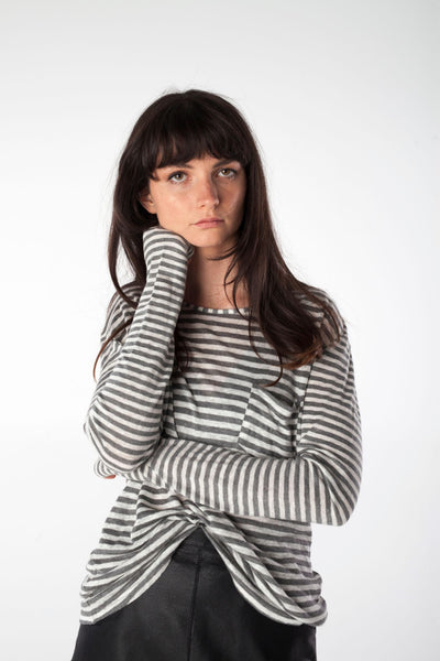 ANNIE grey/white striped tee - Uncle May Women Basics Clothing Natural Fabrics Melbourne