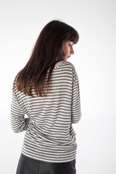 ANNIE grey/white striped tee - Uncle May Women Natural Fabrics Basics Clothing Melbourne