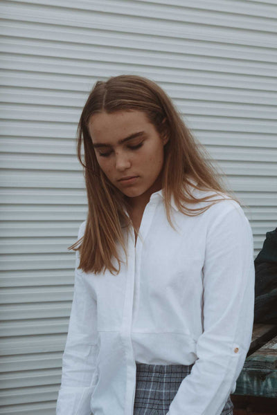 SAGE button down shirt - Uncle May Women Natural Fabrics Basics Clothing Melbourne