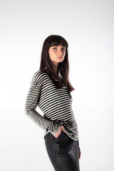 ANNIE black/white striped tee - Uncle May Women Natural Fabrics Basics Clothing Melbourne