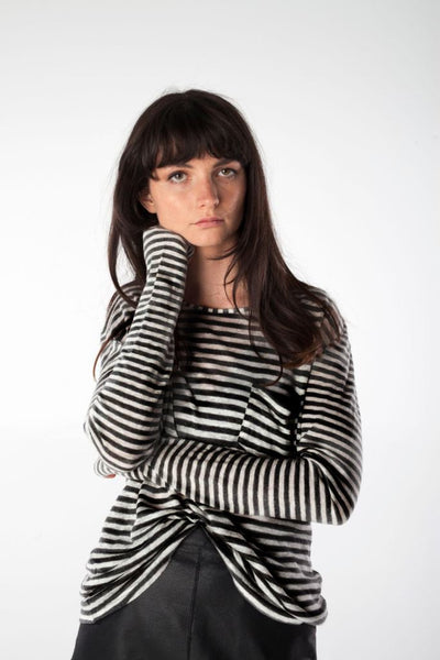 ANNIE black/white striped tee - Uncle May Women Basics Clothing Natural Fabrics Melbourne