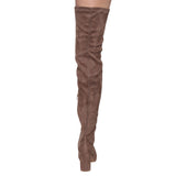 FF01 Stretchy Thigh High Snug Fit Chunky Block Heel Boots