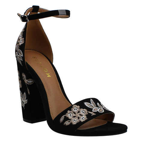 Beston DE29 Women's Froal Embroidery Ankle Strap Block Heel Dress Sandals