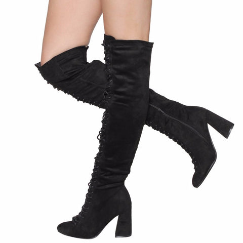 Beston EJ60 Over The Knee High Combat Boots