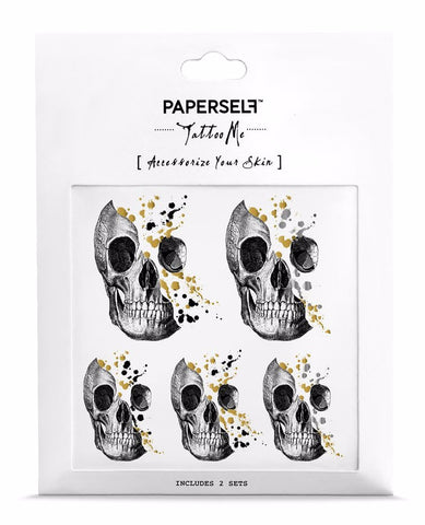 Glittery Minds Skull Temporary Tattoos