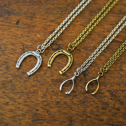 Horseshoes and Wishbones Charm Necklace