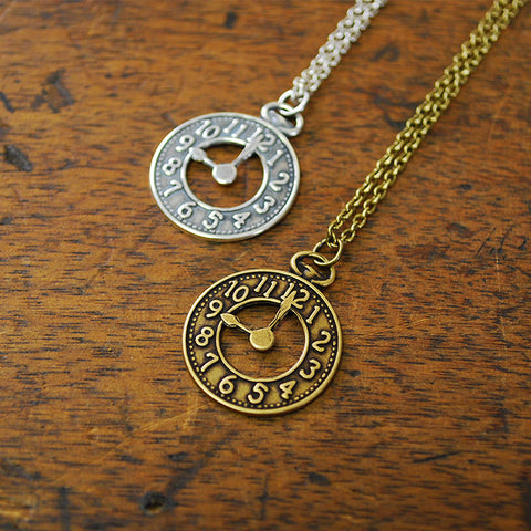 Clock Charm Necklace