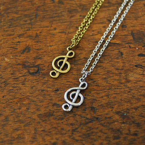 Treble Clef Musical Charm Necklace
