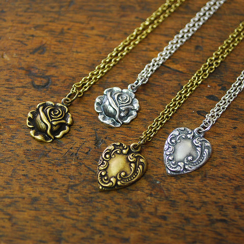 Hearts and Roses Charm Necklace