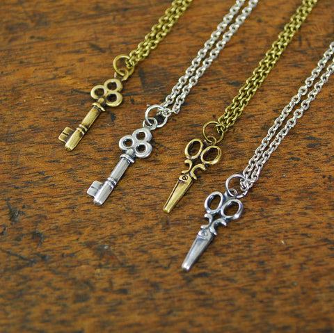 Scissors and Skeleton Keys Charm Necklace