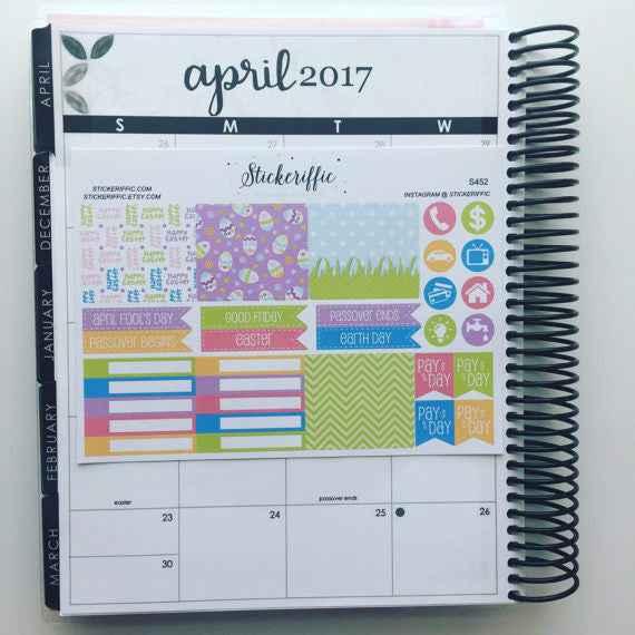Easter Themed April Monthly View Stickers for Erin Condren Vertical - Sheet 2