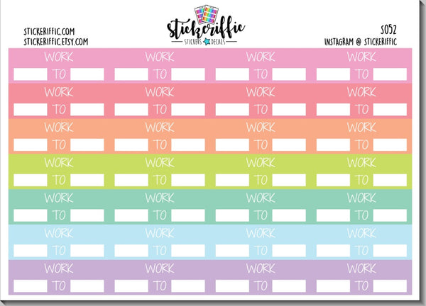 Work Stickers in Pastel Rainbow Colors - Vinyl or Matte
