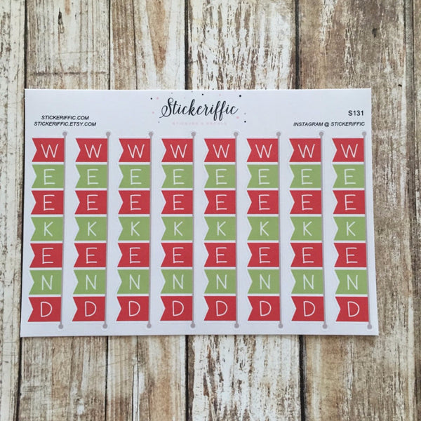 Red & Green Christmas Themed Weekend Banners Stickers for Horizontal Layout