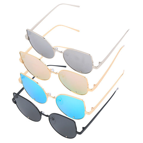 lady sunglasses for sale fll0  Sale Lady Women Cat Eye Sunglasses Fashion Design Flat Lens Mirrored Metal  Frame Gradient Mirror Type Glasses