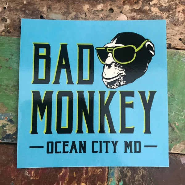 Bad Monkey Blue Square Sticker