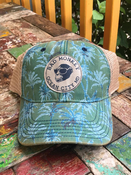 Palm Print Monkey Patch Hat