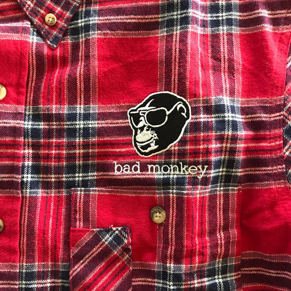 Bad Monkey Embroidered Plaid Flannel Shirt