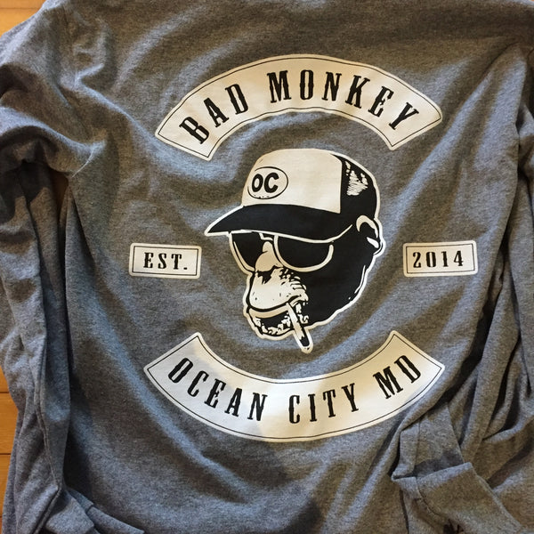 Bad Monkey Biker Patch Long Sleeve T-Shirt