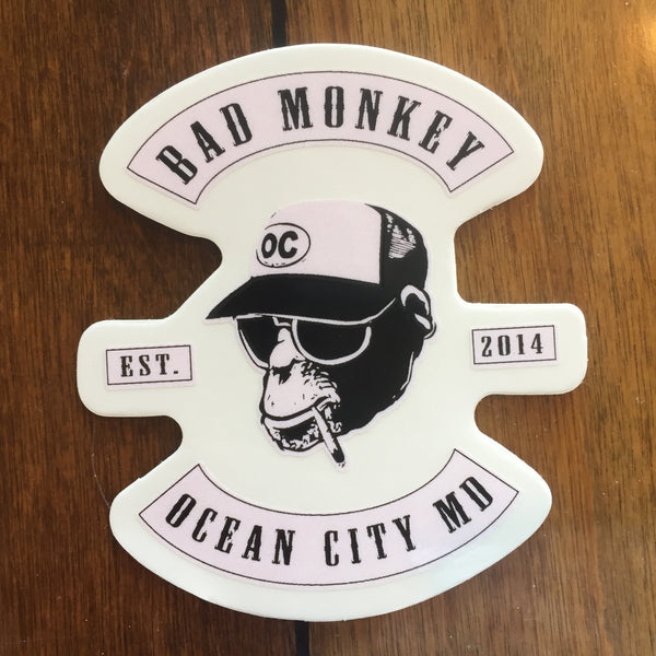 Bad Monkey Biker Patch Die Cut Sticker